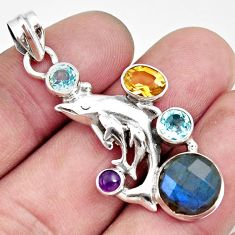 10.47cts natural blue labradorite amethyst 925 silver dolphin pendant d42522