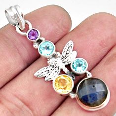 9.04cts natural blue labradorite amethyst 925 silver dragonfly pendant d42507