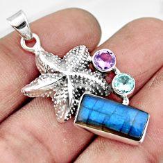 6.08cts natural blue labradorite amethyst 925 silver star fish pendant r20521