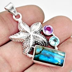 5.63cts natural blue labradorite amethyst 925 silver star fish pendant r20525