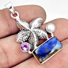 6.20cts natural blue labradorite amethyst 925 silver star fish pendant r20534
