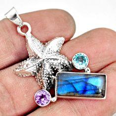 6.08cts natural blue labradorite amethyst 925 silver star fish pendant r20535
