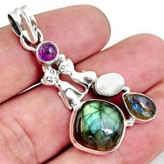 10.04cts natural blue labradorite amethyst 925 silver two cats pendant d42487