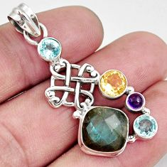 Clearance Sale- 9.65cts natural blue labradorite amethyst 925 sterling silver pendant d42488