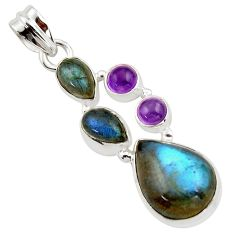 14.28cts natural blue labradorite amethyst 925 sterling silver pendant r43087