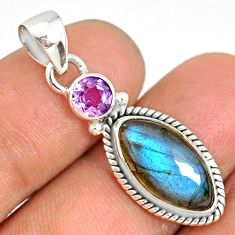 8.90cts natural blue labradorite amethyst 925 sterling silver pendant r77543