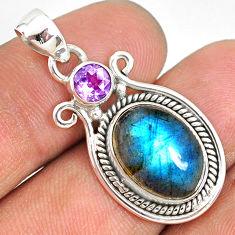 6.60cts natural blue labradorite amethyst 925 sterling silver pendant r77553