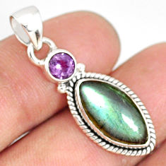 8.88cts natural blue labradorite amethyst 925 sterling silver pendant r77562