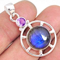 11.64cts natural blue labradorite amethyst 925 sterling silver pendant r77574