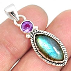 8.83cts natural blue labradorite amethyst 925 sterling silver pendant r77576