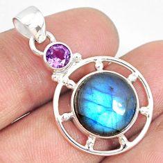 11.18cts natural blue labradorite amethyst 925 sterling silver pendant r77577