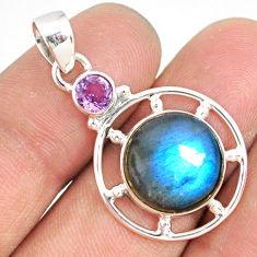 11.64cts natural blue labradorite amethyst 925 sterling silver pendant r77603