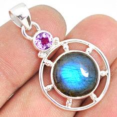10.72cts natural blue labradorite amethyst 925 sterling silver pendant r77611