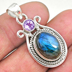 6.54cts natural blue labradorite amethyst 925 sterling silver pendant t11080