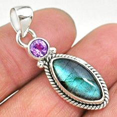 7.30cts natural blue labradorite amethyst 925 sterling silver pendant t11172