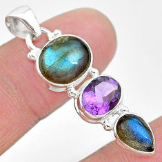 10.71cts natural blue labradorite amethyst 925 sterling silver pendant t18701