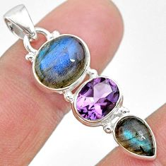 10.69cts natural blue labradorite amethyst 925 sterling silver pendant t18702