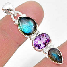 10.32cts natural blue labradorite amethyst 925 sterling silver pendant t18703