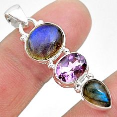10.76cts natural blue labradorite amethyst 925 sterling silver pendant t18705