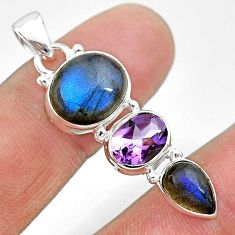 11.13cts natural blue labradorite amethyst 925 sterling silver pendant t18709