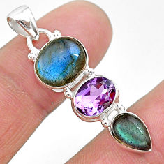 10.69cts natural blue labradorite amethyst 925 sterling silver pendant t18711
