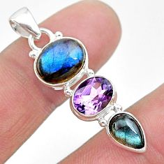 10.93cts natural blue labradorite amethyst 925 sterling silver pendant t18718
