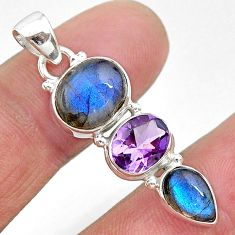 11.09cts natural blue labradorite amethyst 925 sterling silver pendant t18720