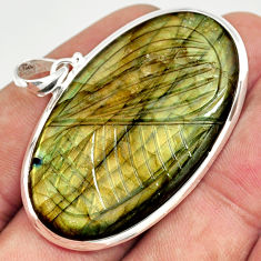 48.89cts natural blue labradorite carving 925 sterling silver pendant r26410