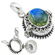 4.99cts natural blue labradorite oval sterling silver poison box pendant t52709