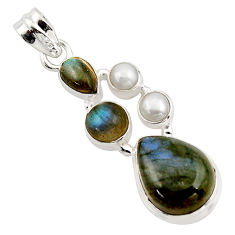 14.45cts natural blue labradorite pearl 925 sterling silver pendant r43089