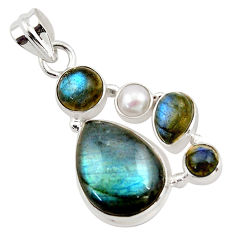 14.72cts natural blue labradorite pearl 925 sterling silver pendant r43090