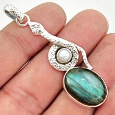 13.79cts natural blue labradorite pearl 925 sterling silver snake pendant d47290