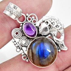 10.60cts natural blue labradorite purple amethyst 925 silver fish pendant d42533