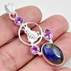 10.04cts natural blue labradorite purple amethyst 925 silver frog pendant d42463
