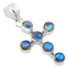5.40cts natural blue labradorite round 925 silver holy cross pendant t52977