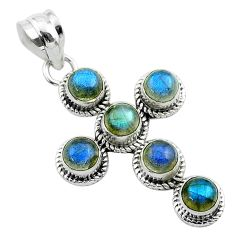 5.34cts natural blue labradorite round 925 sterling silver cross pendant t52986