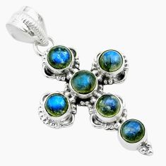 5.82cts natural blue labradorite round 925 sterling silver cross pendant t52995