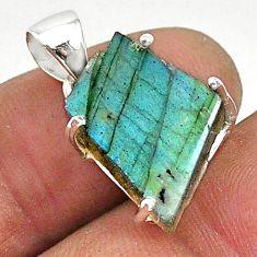 8.42cts natural blue labradorite slice 925 silver solitaire pendant r95536