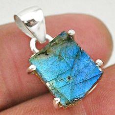 7.49cts natural blue labradorite slice 925 sterling silver pendant r95505