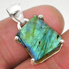 8.01cts natural blue labradorite slice 925 sterling silver pendant r95508