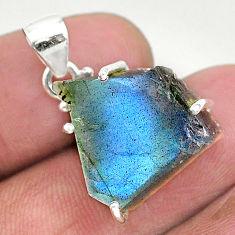 13.20cts natural blue labradorite slice 925 sterling silver pendant r95516