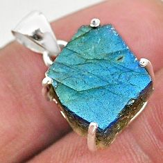 11.04cts natural blue labradorite slice 925 sterling silver pendant r95518