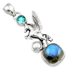 6.53cts natural blue labradorite topaz pearl 925 silver unicorn pendant r52719
