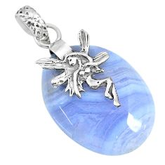 20.90cts natural blue lace agate 925 silver angel wings fairy pendant r90965