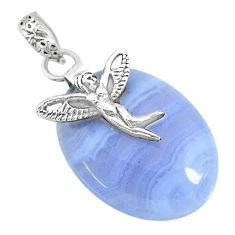 23.94cts natural blue lace agate 925 silver angel wings fairy pendant r90971