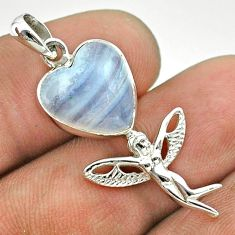 6.64cts natural blue lace agate 925 silver angel wings fairy pendant t55261
