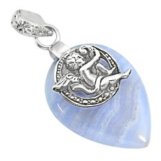 17.82cts natural blue lace agate 925 silver cupid angel wings pendant r91215