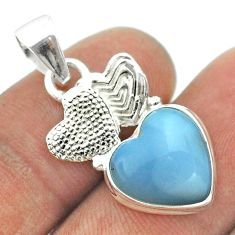 6.39cts natural blue lace agate 925 sterling silver couple hearts pendant t55446