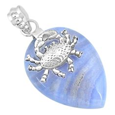 25.89cts natural blue lace agate 925 sterling silver crab pendant jewelry r90967