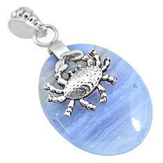 26.46cts natural blue lace agate 925 sterling silver crab pendant jewelry r90979